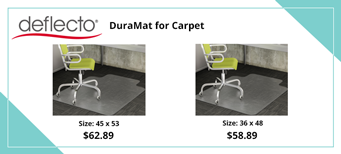 Deflecto DuraMat Moderate Use Chair Mat for Low Pile Carpet, Wide Lipped, Clear